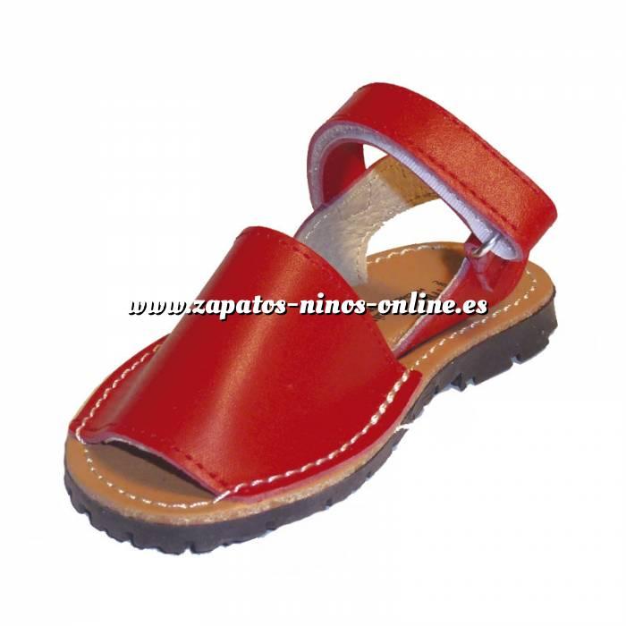 Imagen Roja Avarca - Menorquina piel niño Roja Talla 25