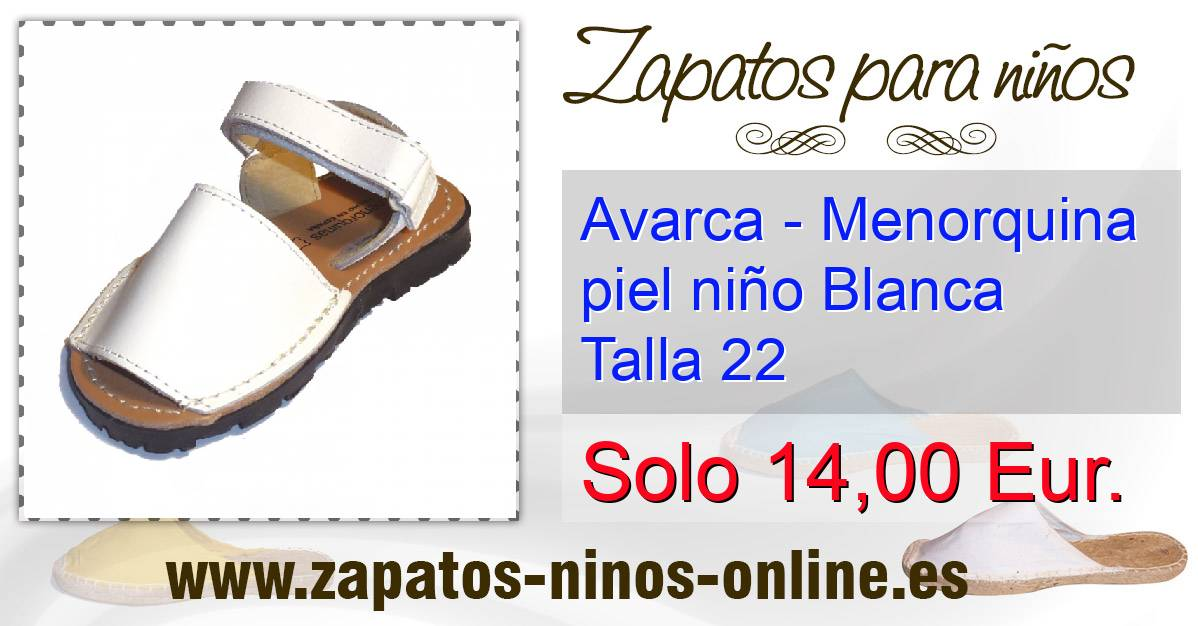 421cdc74ed5 Avarca - Menorquina piel niño Blanca Talla 22