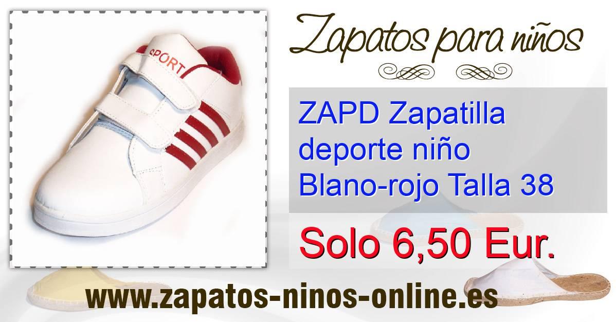 38 Zapd Rojo Zapatilla Blano Talla Deporte Niño CWEdxBoQre